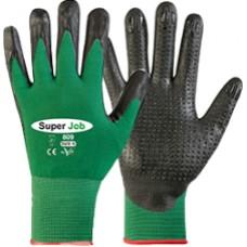 """guanti da lavoro """"vega"""" art.super job 809 CE colore nero/verde CE (4131)"""